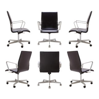 Oxford Low-Back Chairs in Leather by Arne Jacobsen for Fritz Hansen, S/6