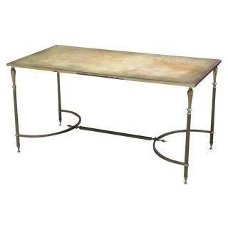 Jansen Style Brass Leathertop Coffee Table