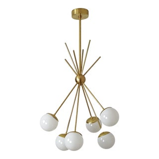 "Italian Mid-Century Brass ""Burst"" Chandelier With Blown Glass Globes"