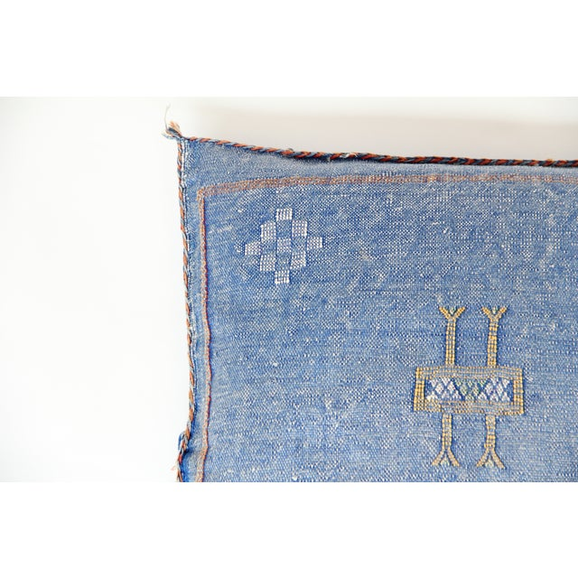 Blue & Yellow Moroccan Cactus Pillows - A Pair - Image 4 of 7