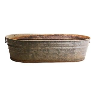 Vintage Industrial Wheeling Galvanized Oval Wash Tub