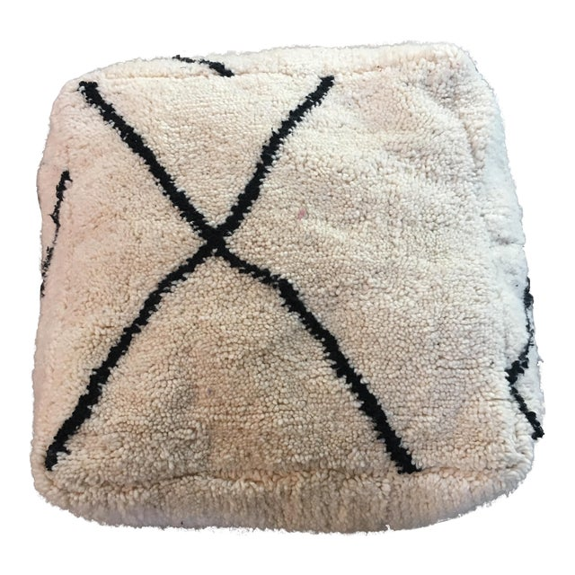 Cream & Black Moroccan Boho Chic Floor Pouf - Image 1 of 4