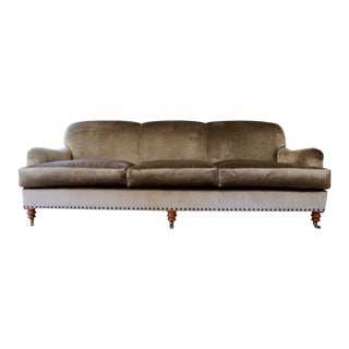 Lillian August Albert Taupe Velvet Mid Sofa Couch