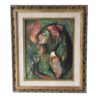 Mid-Century Painted Abstract Woman