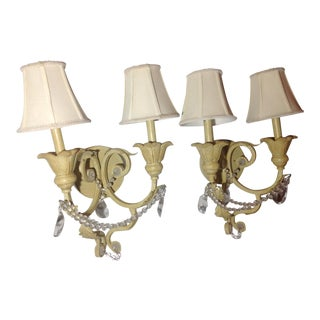 Vintage Italian Beaded Light Sconces - a Pair