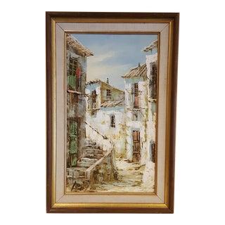 Mid-Century Village Scene Painting