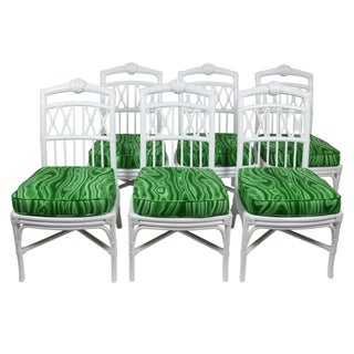 Ficks Reed White Shell Dining Chairs - Set of 6