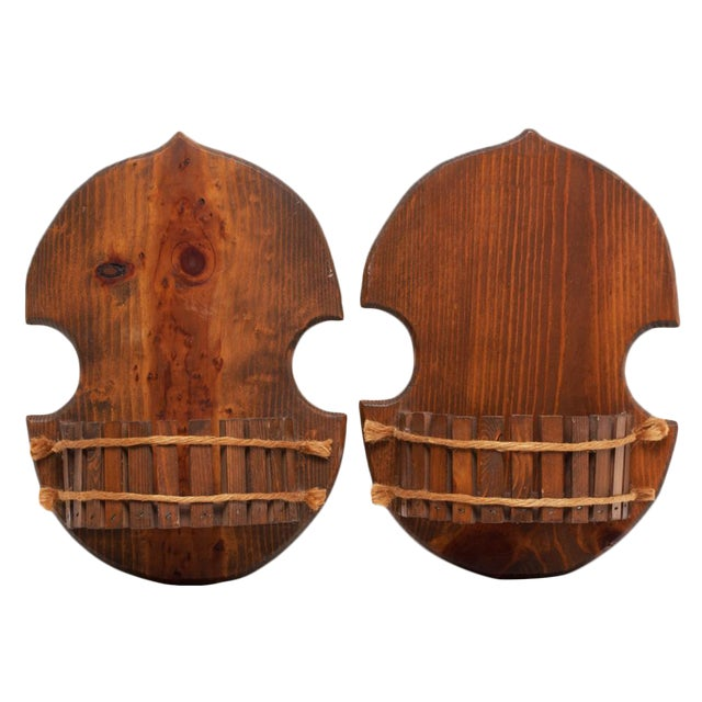 Pair of Japanese Style Wood Brackets, C. 1960s - Image 1 of 10