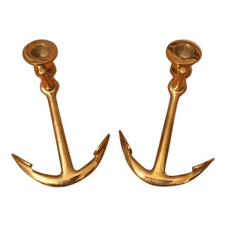 Brass Anchor Candle Holders - a Pair