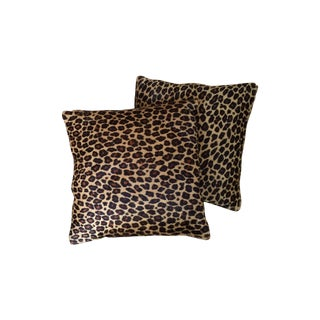 Leopard Print on Cow Hide Pillows - A Pair