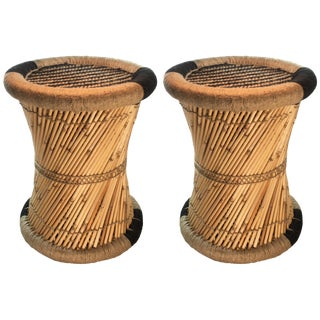 Natural Geo Boho Black Accent Stools - A Pair