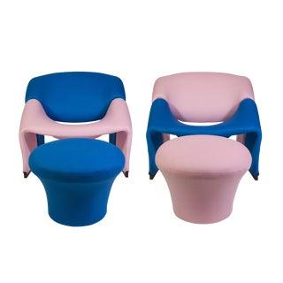 Pierre Paulin Oscar De La Renta Cashmere Upholstered Chairs & Ottomans- 4 Pieces