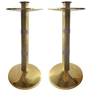 Brass with Silver Banding Candle-Holders - Pair