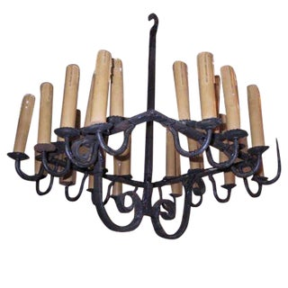 French, 1940s Twenty-Eight-Light Wrought Iron Chandelier