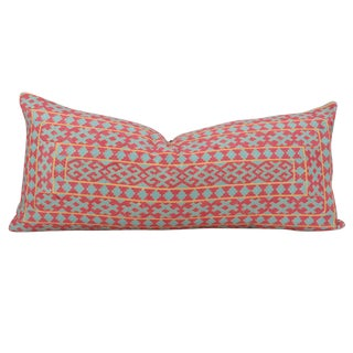 Swati Tribal Aqua & Pink Brocade Pillow