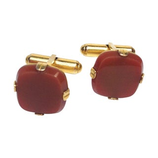 Dial Cuff Links With Red Stone