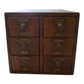 Antique Quarter Sewn Six Drawer Oak Card File