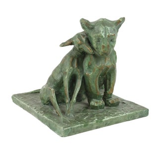 Vintage Dog & Lion Cub Terracotta Statue