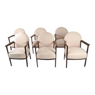 Circa 1930s Belgian Dining Chairs in Zebra Wood - Set of 6