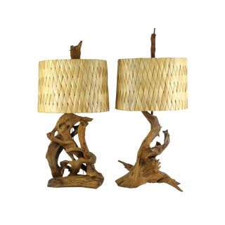 1950's Driftwood Lamps Woven Palm Leaf Shades