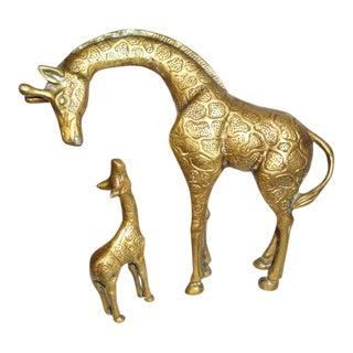 Brass Mother & Child Giraffe Figurines - A Pair