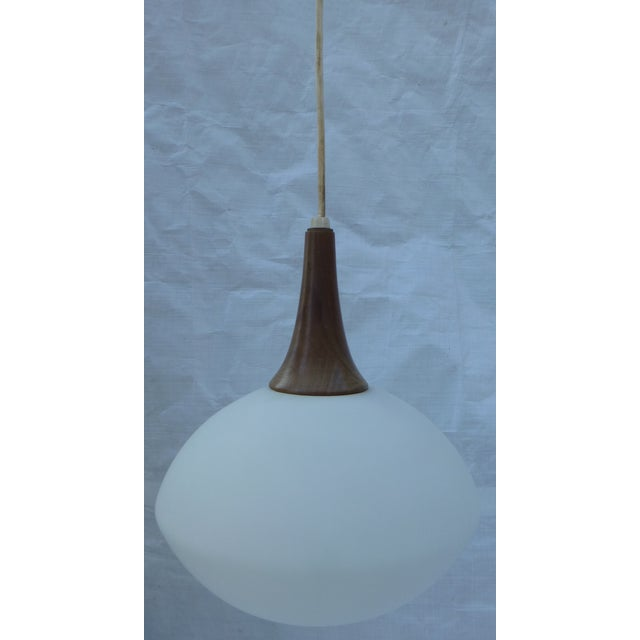 Mid-Century Walnut and Glass Pendant Lamp - Image 5 of 8