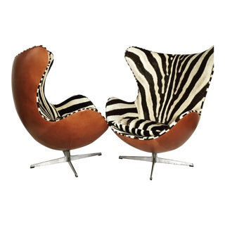 Arne Jacobsen Egg Chairs in Zebra Hide and Leather - Pair