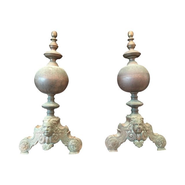 French Antique Brass Andirons - Image 1 of 6