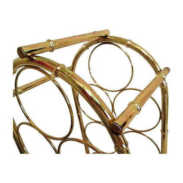 Image of Brass-Plated Dome Bamboo Wine Rack