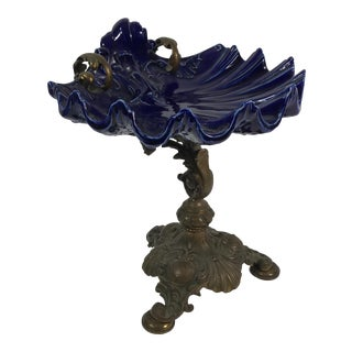 KPM Porcelain Shell Plate On Bronze Stand
