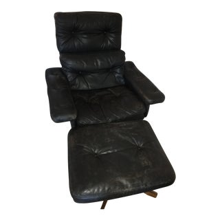 Black Leather Mid-Century Modern Lounge Chair & Ottoman