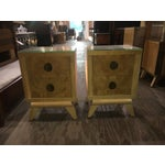 Image of Mid-Century Blonde Nightstands Side Tables - Pair
