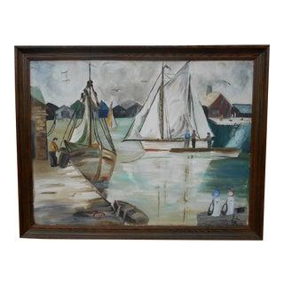 Vintage Harborscape Painting