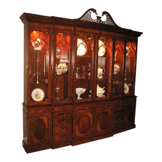 Maitland-Smith Georgian Triple Breakfront China Cabinet