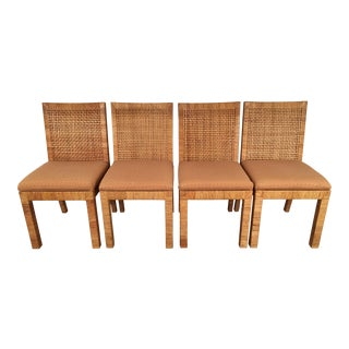 Wrapped Rattan Double Cane Back Chairs - Set of 4