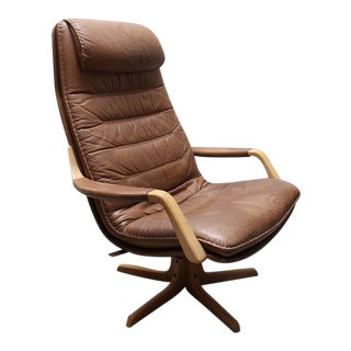 Mid-Century Brown Leather Lounge Chair