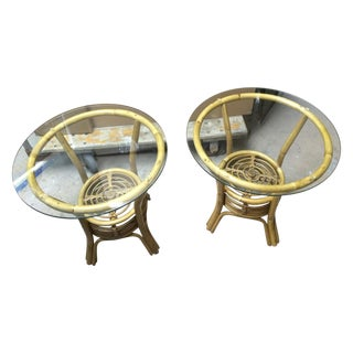 Vintage Rattan & Bamboo Side Tables - Pair Glass Top