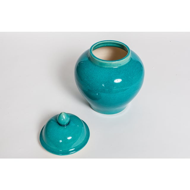 Turquoise Blue Urns - A Pair - Image 3 of 5