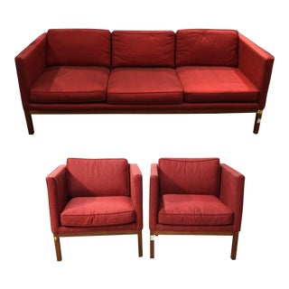 Mid-Century Modern Sofa & Club Chairs - Set of 3