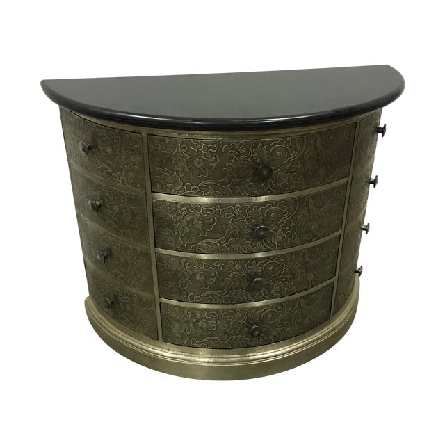 Demi-Lune Silver Metal Chest Side Table - Image 1 of 6