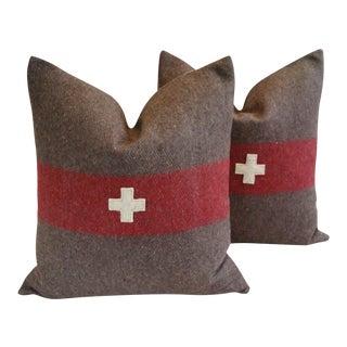 "22"" Custom Tailored Swiss Appliqué Cross Wool Feather/Down Pillows- Pair"