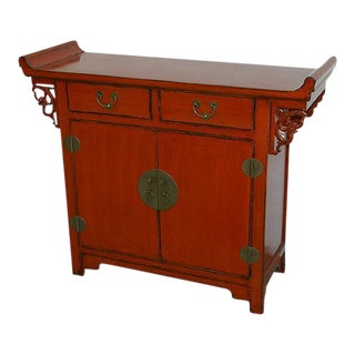 1900s Chinese Red Lacquered Coffer Chest