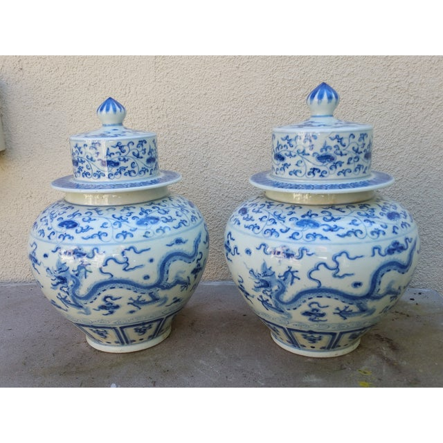 Chinese Handpainted Mythical Dragon Vases - A Pair - Image 2 of 7