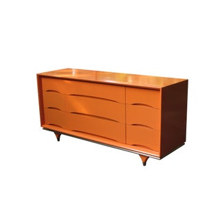 Hermes Orange Lacquered Dresser with Brass Details
