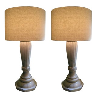 Antique Alabaster Lamps - A Pair