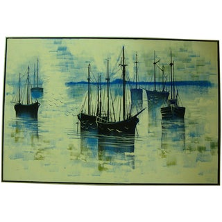 1970s Large Seascape Ships Oil on Canvas Painting