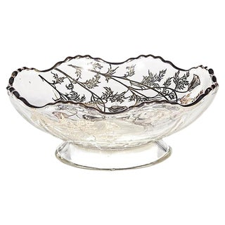 1960s Silver Overlay Floral Dish