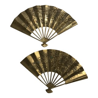 Mid-Century Modern Brass Decorative Wall Fans - A Pair