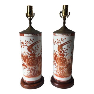 Vintage Chinese Porcelain Lamps-Wood Pedestal Base