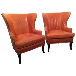 Williams Sonoma Chelsea Leather Wing Chairs - Pair